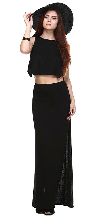 Cropped Crossback Long Dress