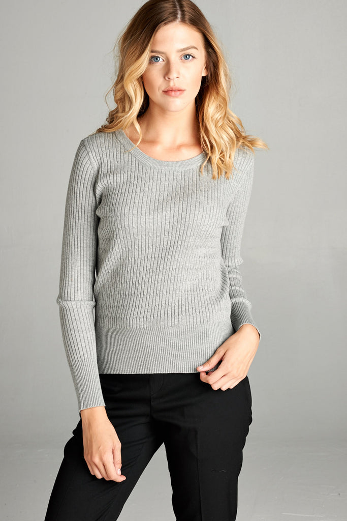 Crew Neck Cable Knit Sweater, Heather Grey