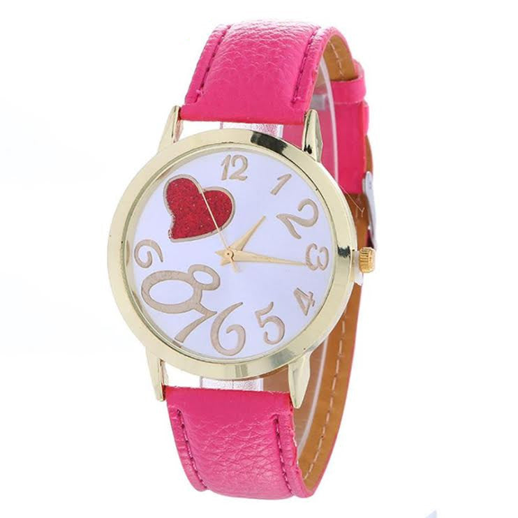 Red Heart Fashion Watch, Hot Pink
