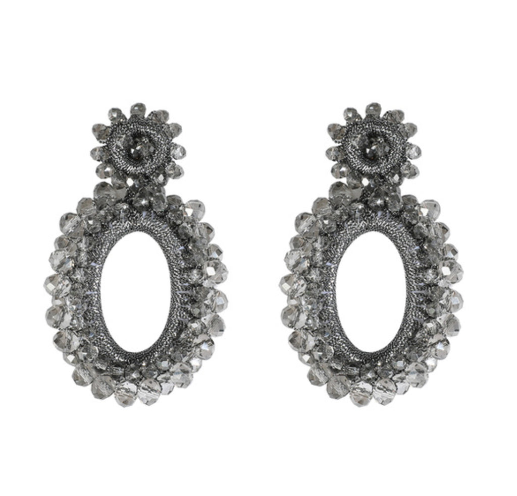 Oval Bead Drop Earrings, Gray