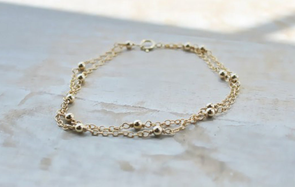 Double Chain Round Bead Bracelet, Gold
