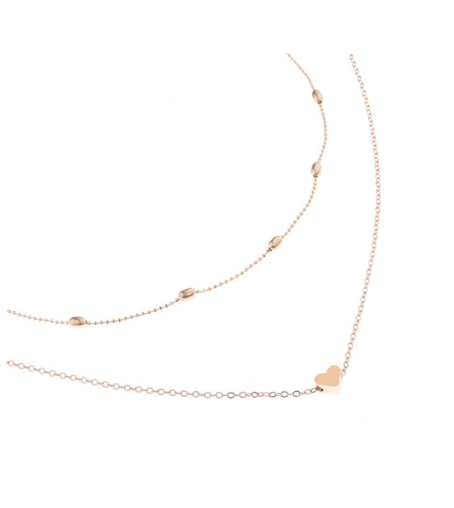 Double Chain Heart Choker Necklace Set, Gold