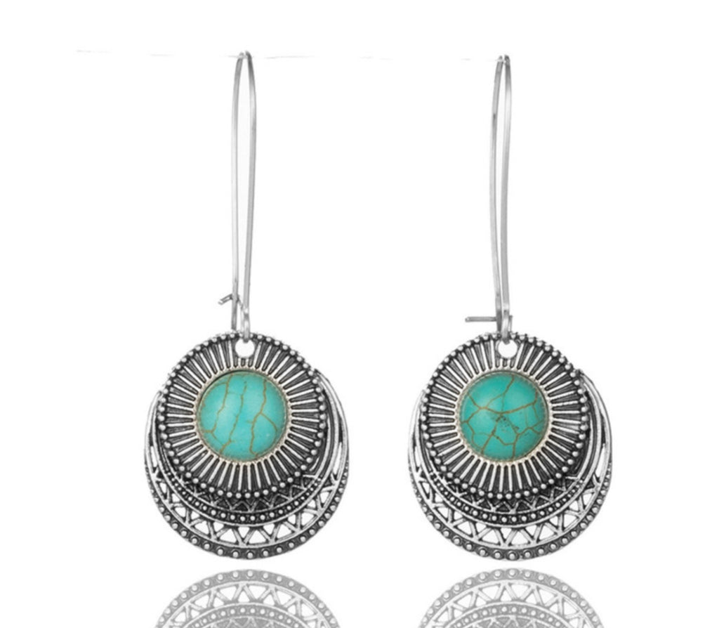 Boho Design Turquoise & Silver Drop Earrings