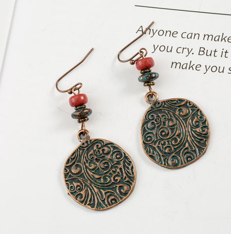 Beaded Butterfly Drop Earrings