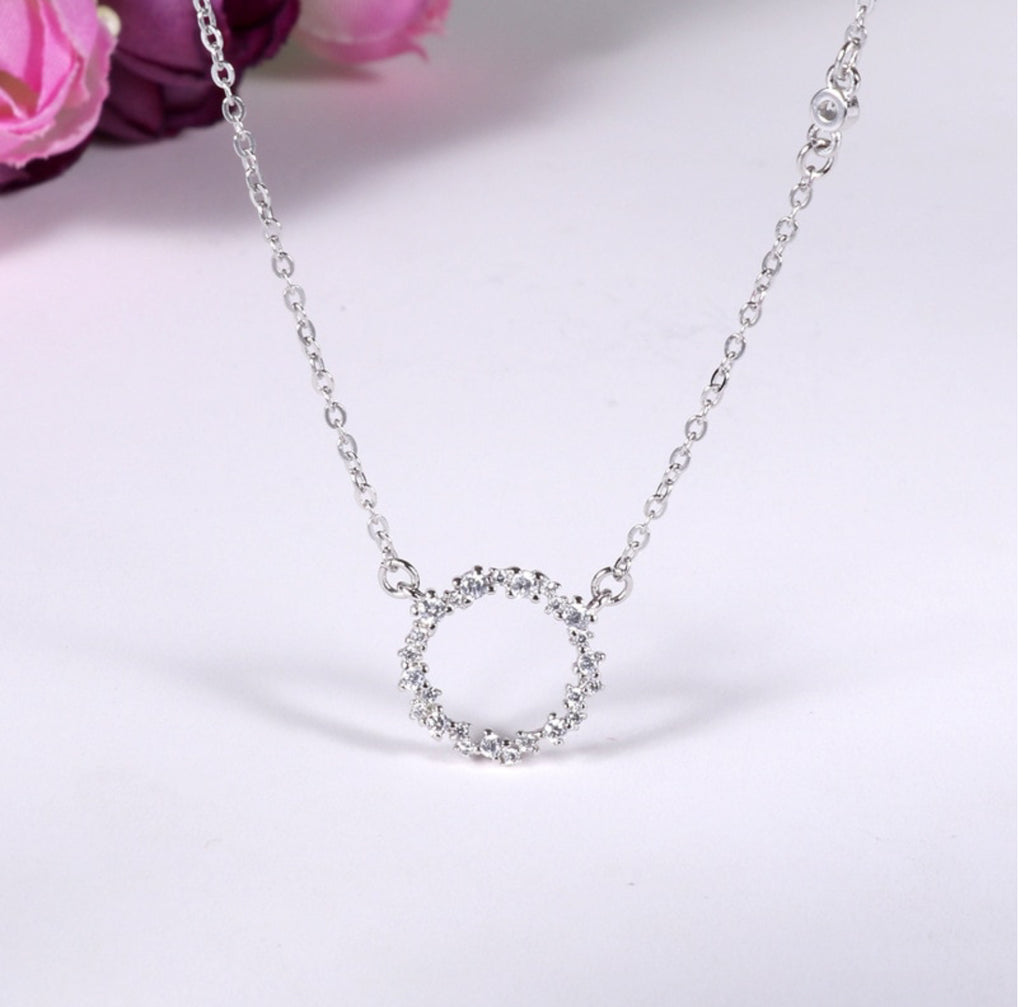 Sterling Silver Round CZ Necklace