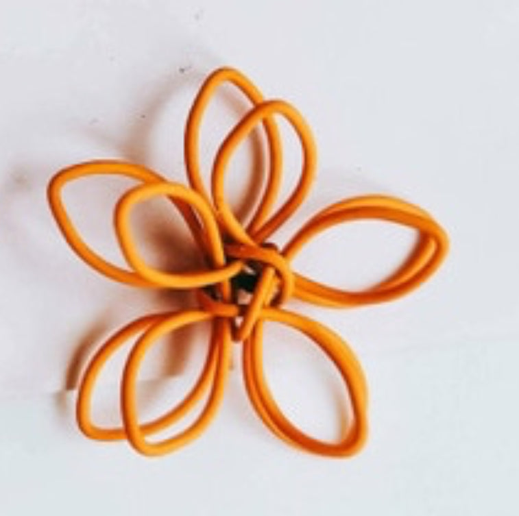 Colorful Wire Sculpted Flower Earrings, Orange