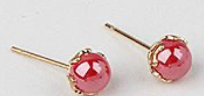 Faux Pearl Stud Earrings 6MM, Red