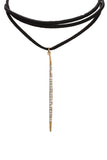 Pave Crystal Stone Faux Suede Necklace