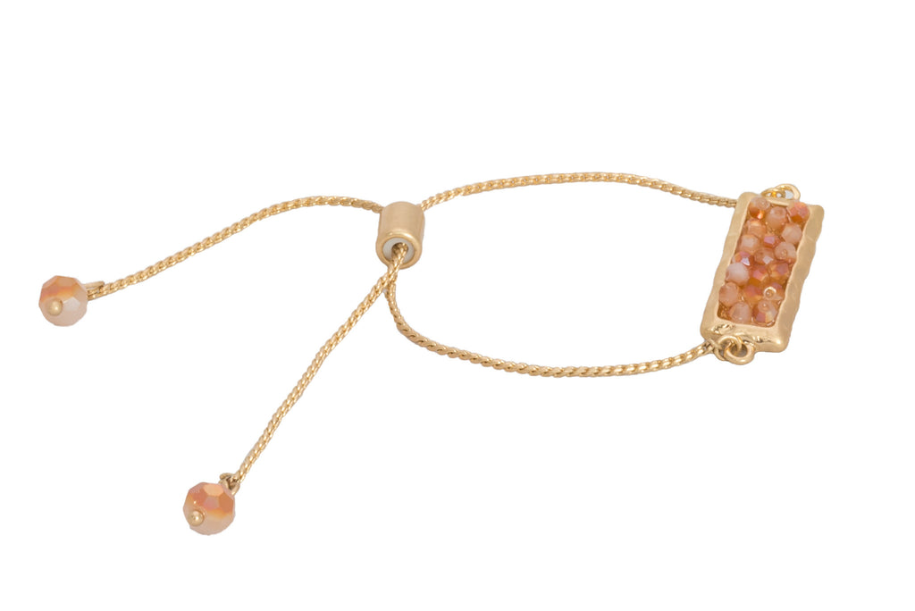 Glass Bead Cluster Bracelet, Peach