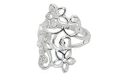 Beautiful Cutout Flowers Ring, Silver