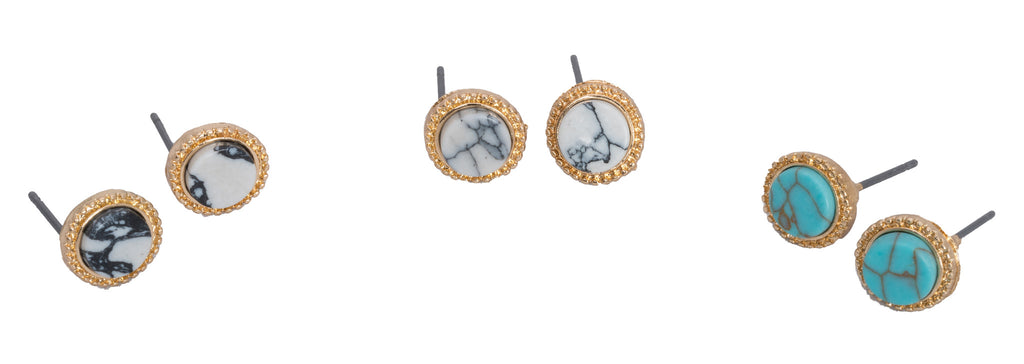 Gold and Stone Earrings