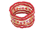 Mixed Beads Stretch Bracelet, Red