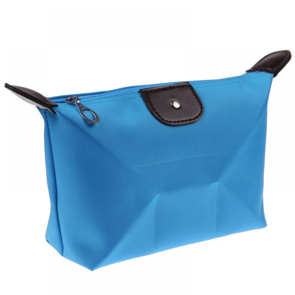 Roomy Nylon Cosmetic Bag, Lake Blue