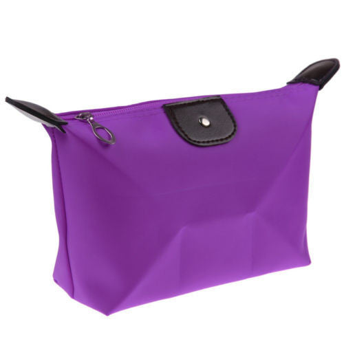 Roomy Nylon Cosmetic Bag, Purple