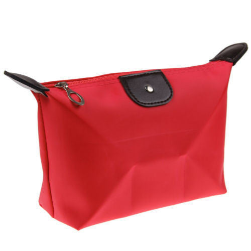 Roomy Nylon Cosmetic Bag, Red