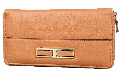 Wallet With Gold Buckle, Camel