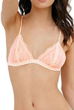 Adorable Low Cut Triangle Bralette, Peach