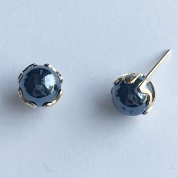 Faux Pearl Stud Earrings 8MM, Black