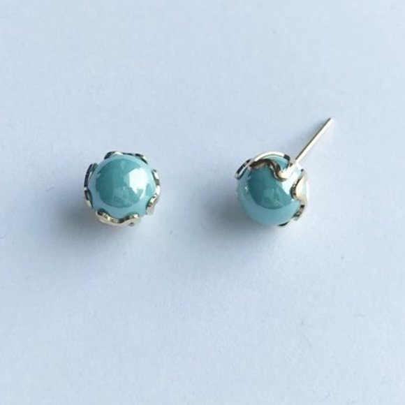 Faux Pearl Stud Earrings 6MM, Baby Blue