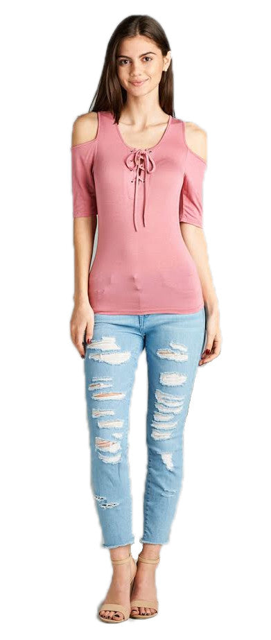 Open Shoulder Lace Up Top, Dusty Pink