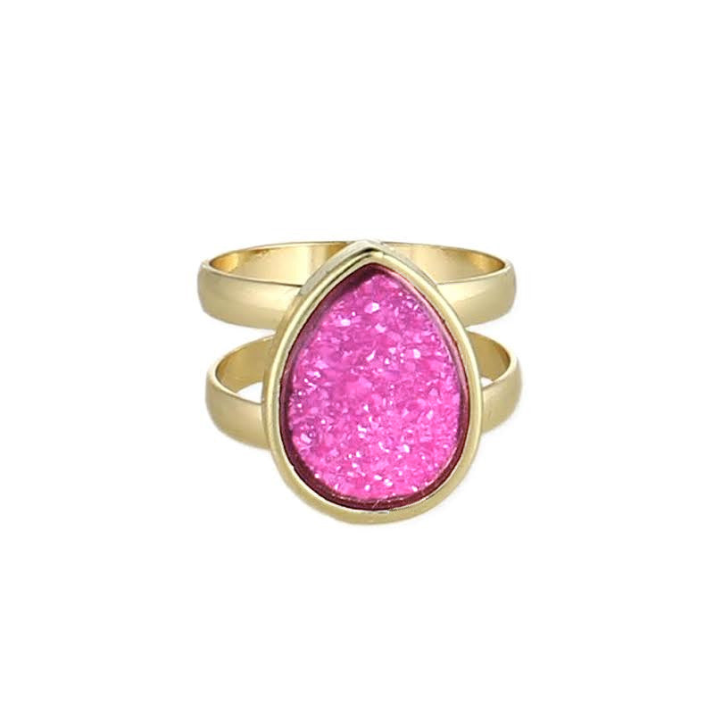 Teardrop Druzy Gold Ring, Pink