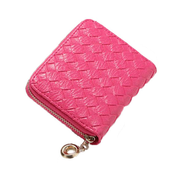 Woven Design Classic Wallet, Hot Pink