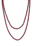 Iridescent Glass Bead Extra Long Necklace, Red