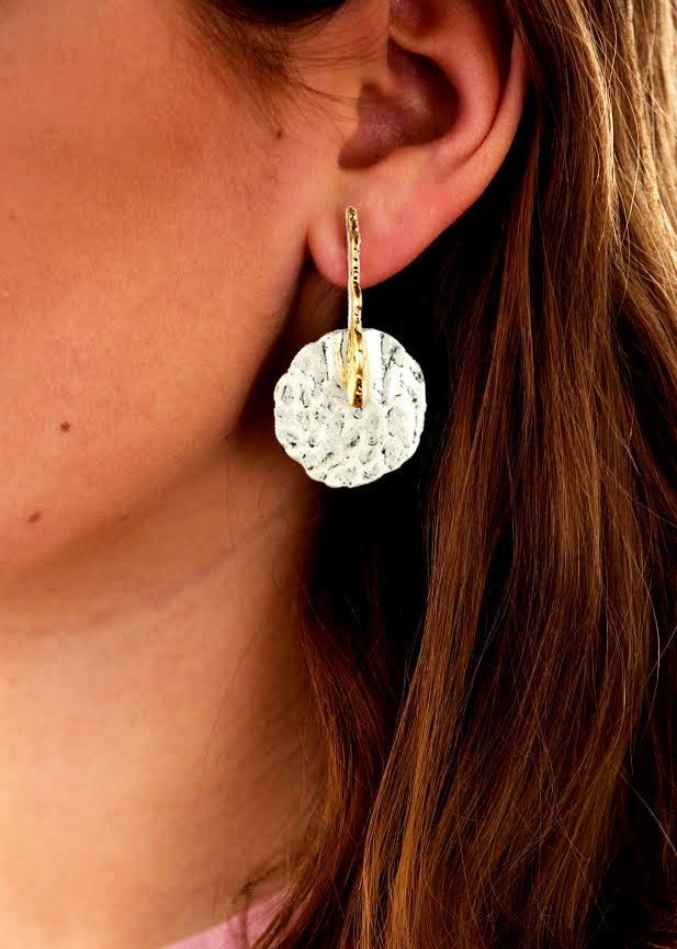 Hammered Disc Earrings, Silver