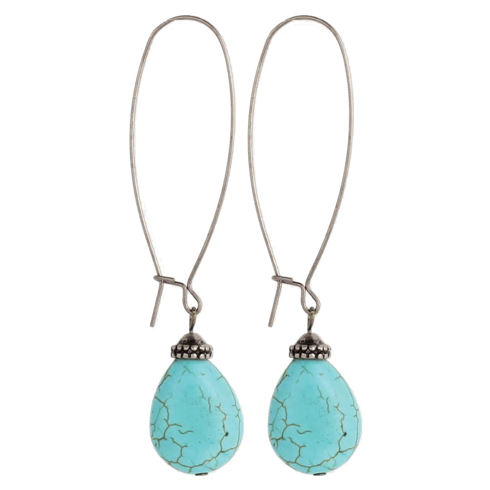 Oversize Earwire Turquoise Bead Earrings, Silver