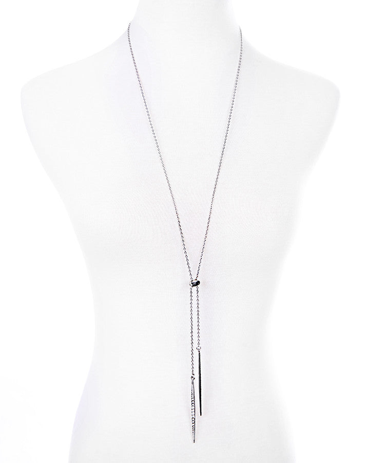 Crystal Tassel Lariat Necklace, Silver