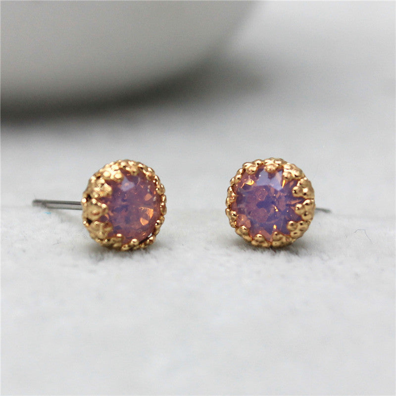 Crystal Stud Earrings, Lavender