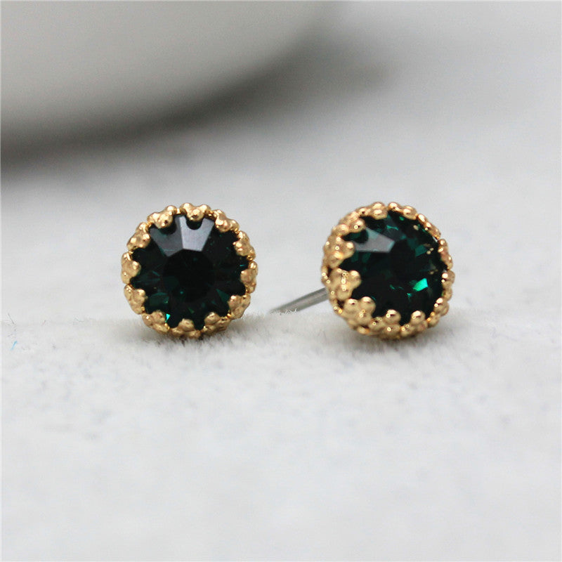Crystal Stud Earrings, Green