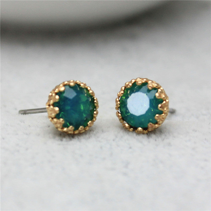 Crystal Stud Earrings, Teal