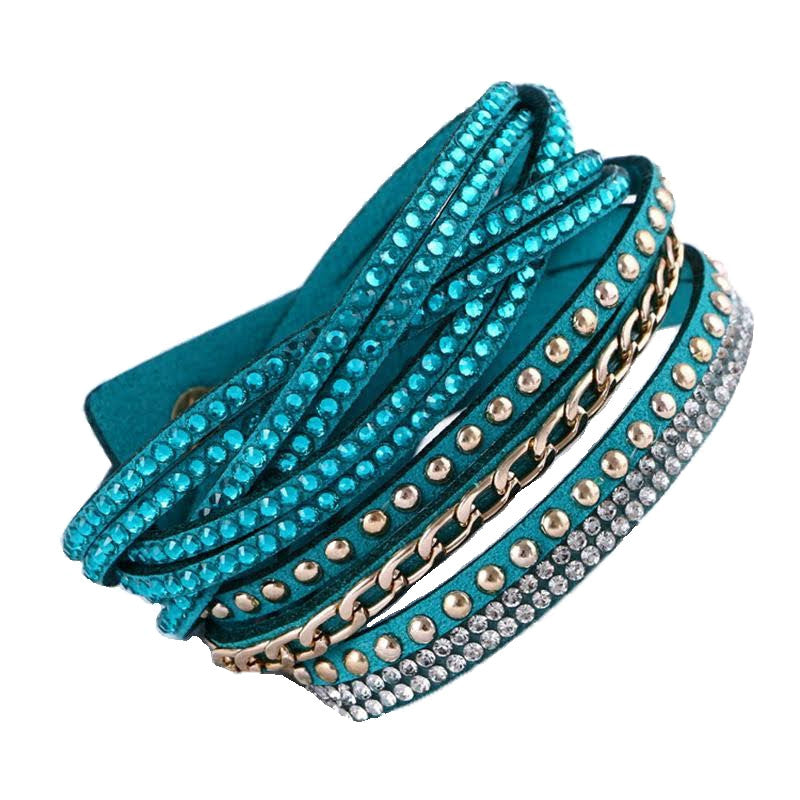 Leather Rhinestone Layered Wrap Bracelet, Peacock Blue