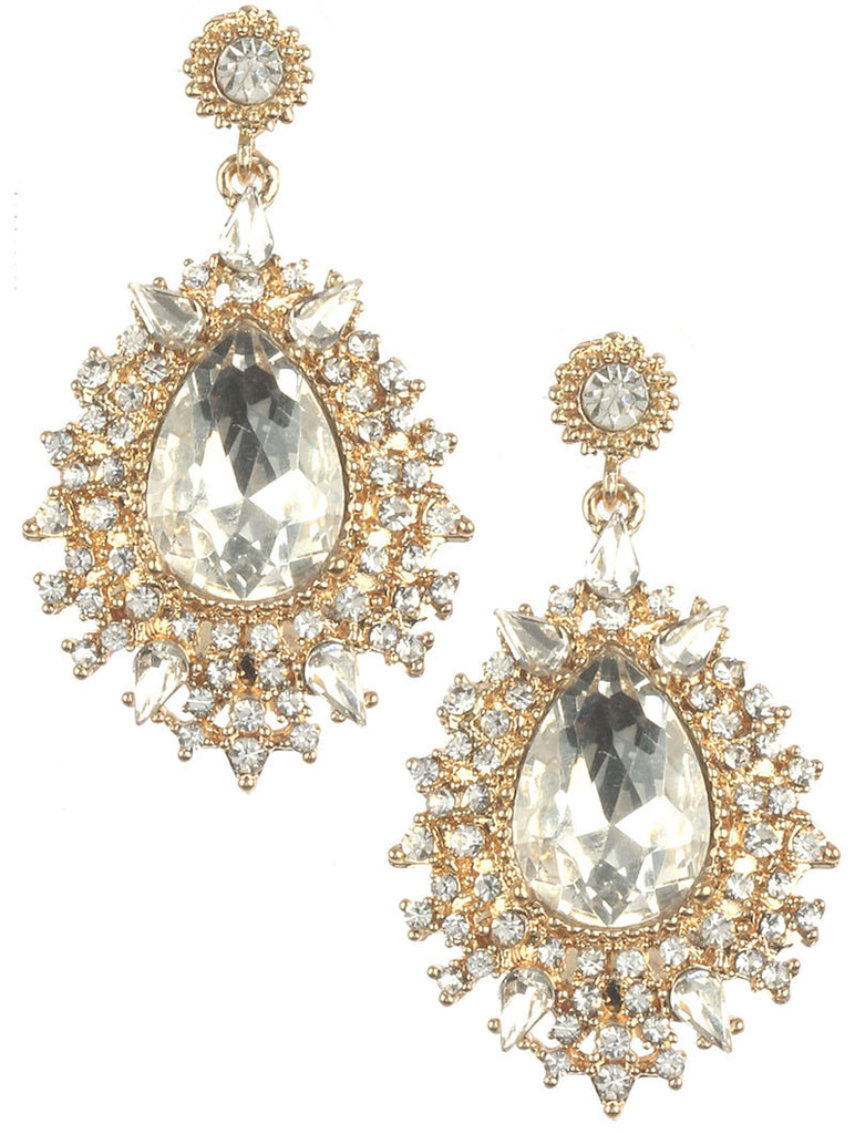 Crystal Cluster Stone Earrings, Gold