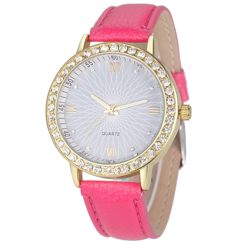 Leather & Rhinestone Quartz Watch, Hot Pink