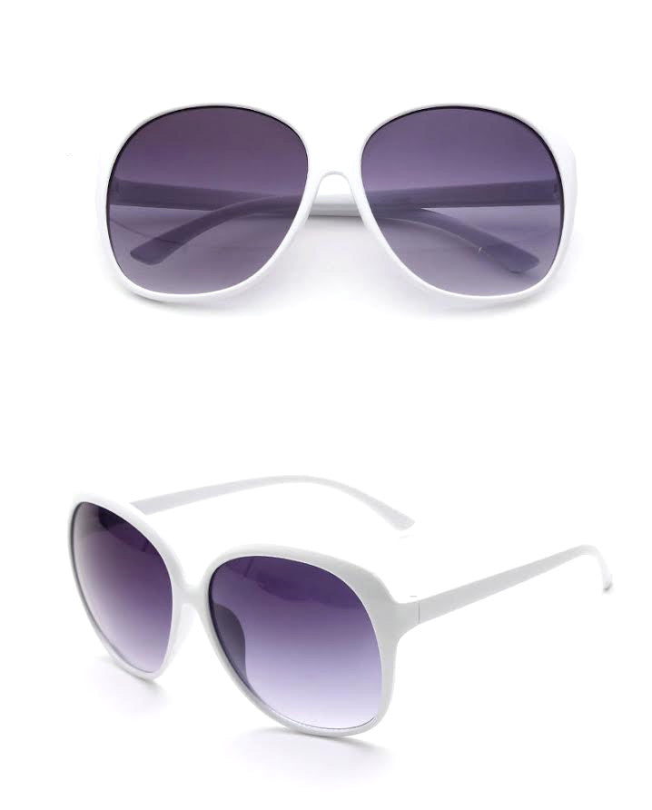 Round Fashion Sunglasses, White