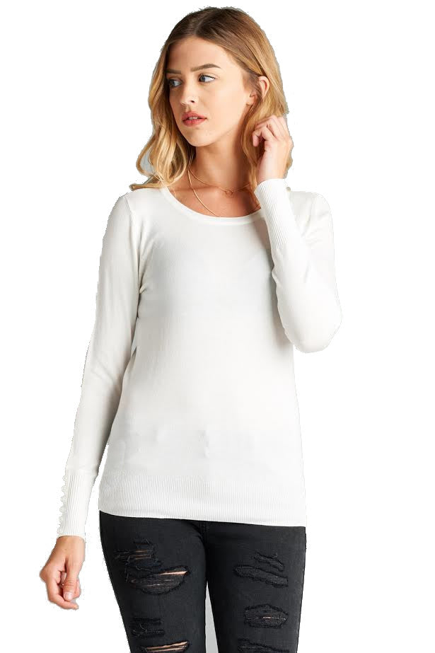 Crew Neck Sweater With Sleeve Buttons, White