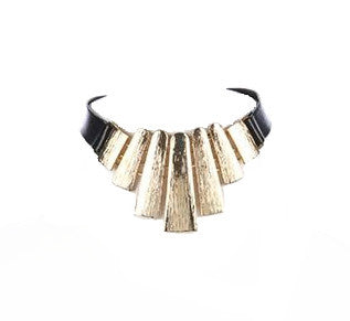 Gold Etched Metal Faux Leather Choker Necklace