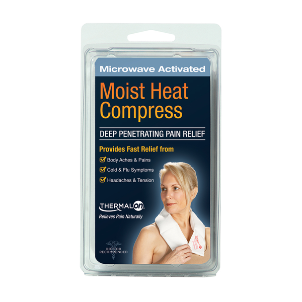 Thermalon Moist Heat Compress. Microwave activated moist heat wrap. Natural pain relief for shoulder pain, neck pain, sinus headaches and more. Soft and conforming. Deep penetrating moist heat provides fast pain relief. Portable pain relief.