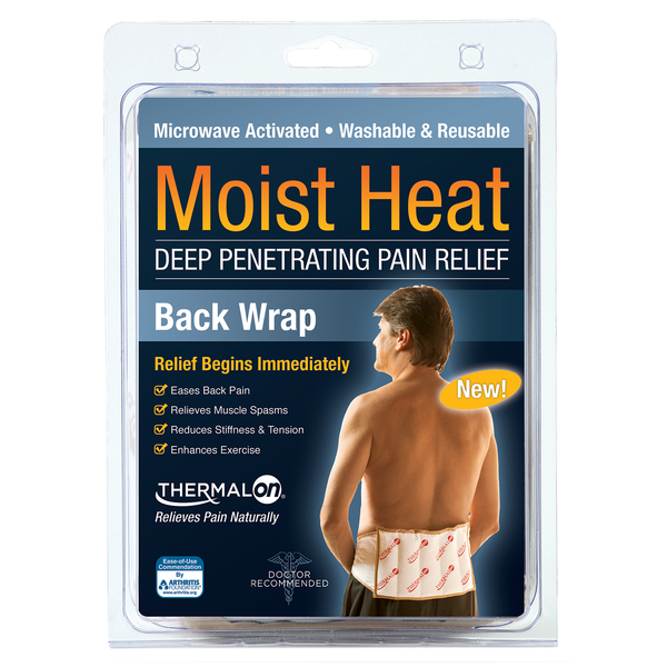 Thermalon Moist Heat Back Wrap. Deep penetrating pain relief for back, shoulder and abdominal pain. Microwave activate moist heat pad. Portable pain relief. Washable and reusable. Natural pain relief.
