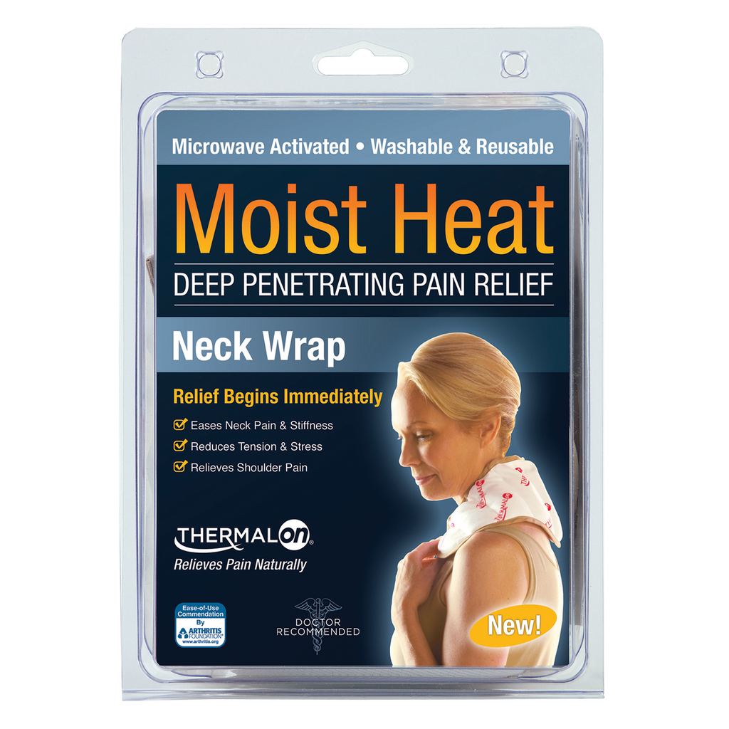 Thermalon Moist Heat Neck Wrap. Deep penetrating pain relief for neck and shoulder pain. Microwave activate moist heat pad. Portable pain relief. Washable and reusable. Natural pain relief.