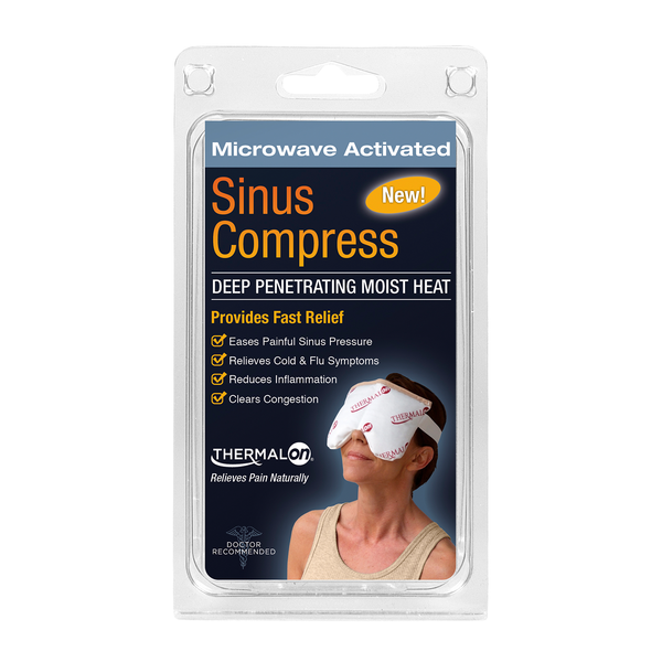 Thermalon Moist Heat Sinus Compress. Microwave activated moist heat pad. Moist heat therapy and cold therapy mask. Ideal for natural sinus pain relief, natural sinus pressure relief, headaches, migraines, TMJ and dental pain relief.