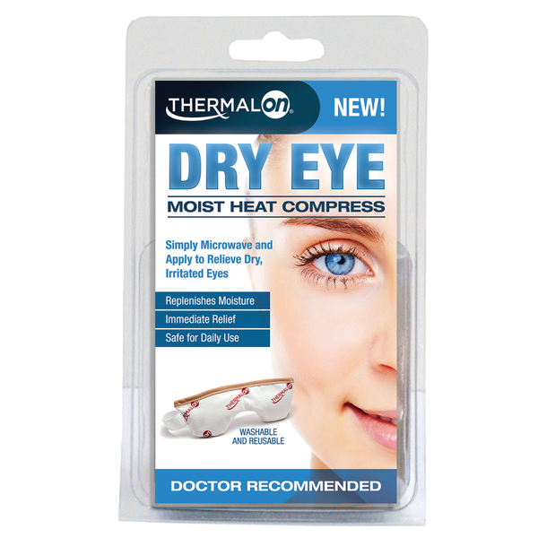 Thermalon Dry Eye Compress. Moist Heat Compress provides relief from dry, irritated eyes caused by dry eye syndrome, digital eye strain, and other eye irritations. Microwave activated moist heat warm compress.
