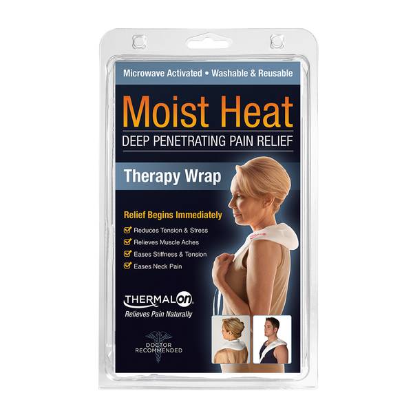 Thermalon Moist Heat Therapy Wrap. Natural pain relief. Deep penetrating moist heat therapy from the microwave provides fast acting natural pain relief. Relieves neck and shoulder pain, tension and stress.