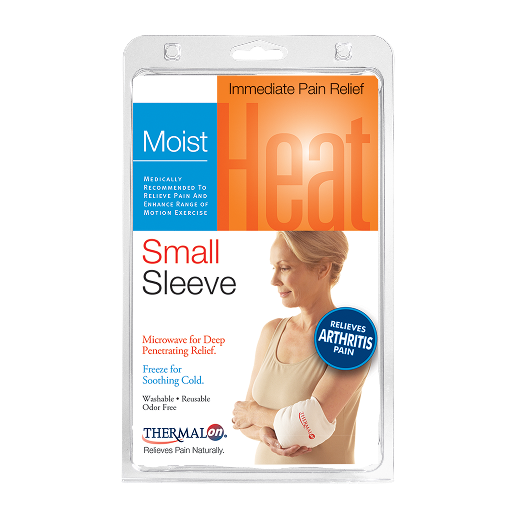 Thermalon Moist Heat Sleeve provides moist heat therapy and cold therapy for natural pain relief. Soft conforming wrap is perfect for joint pain relief, arthritis pain relief, elbow pain relief. Microwave or freeze and apply.