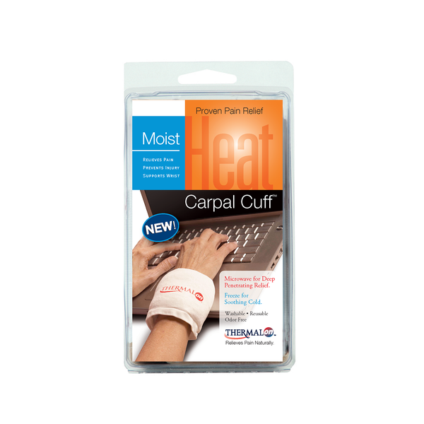 Thermalon Moist Heat Carpal Cuff. Microwave for moist heat treatment. Freeze for cold therapy. Natural pain relief for carpal tunnel and other wrist pain.