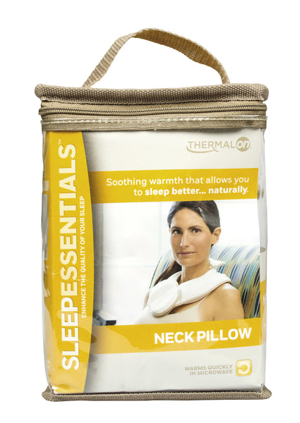 Thermalon Sleep Essentials Moist Heat Neck Pillow.  Natural moist heat therapy compress relieves neck pain for better sleep.