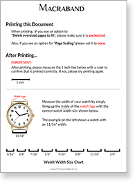 Macraband Watch Width Measurement Guide Printable PDF