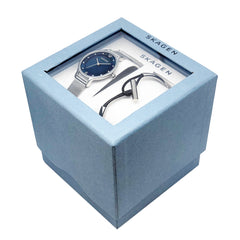 Anita Silver Steel Mesh Watch & Anette Silver-Tone Steel and Leather Bangle Box Set